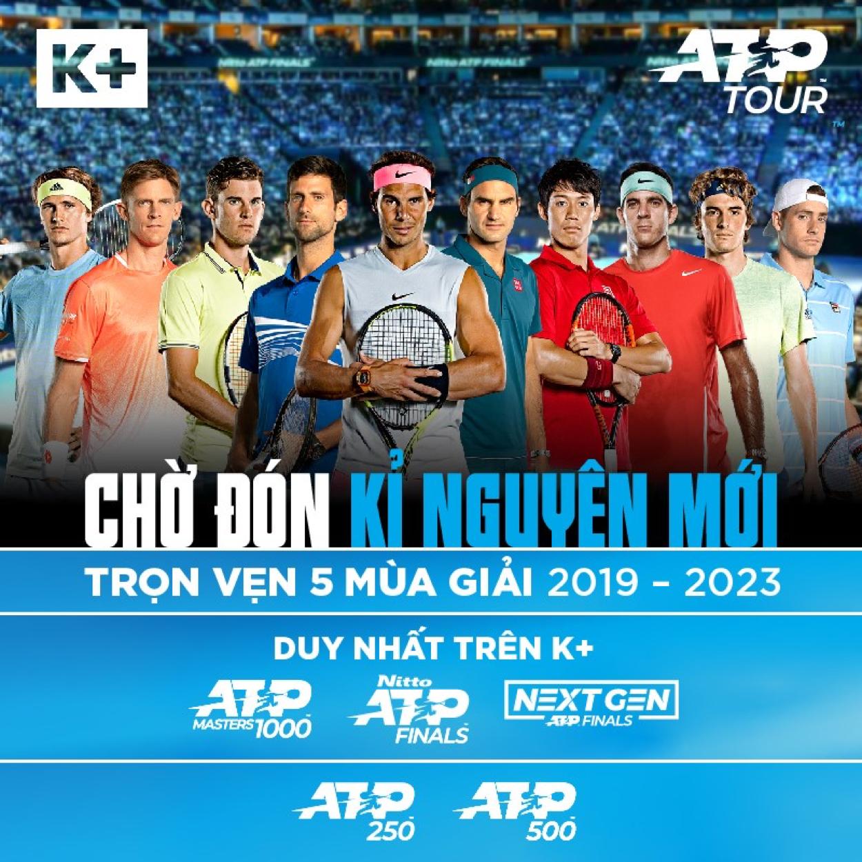 K+ sở hữu bản quyền ATP World Tour 2019 - 2023
