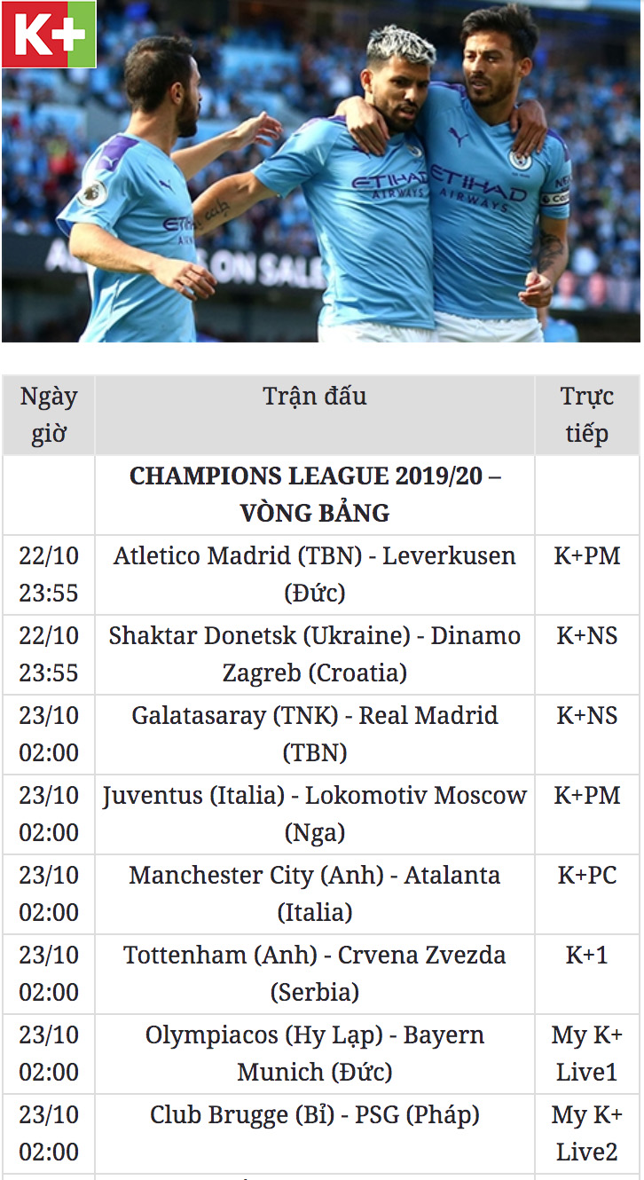 lich thi dau Champion League 2019/20